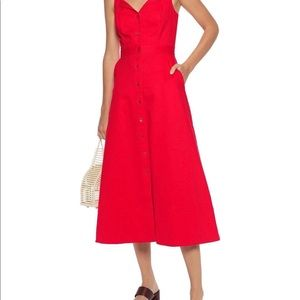 Red midi dress. Button up front